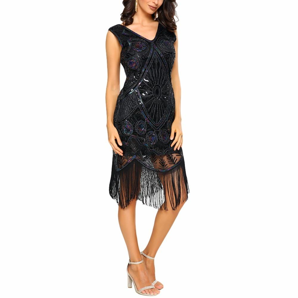 9904bb073fa Sexy Women Sequin Dress Tassel Fringe V Neck 1920s Flapper Bodycon Party  Dress Retro Mid Calf Dress Black Gold Vintage Vestidos Cocktail Dresses  Long Buy ...