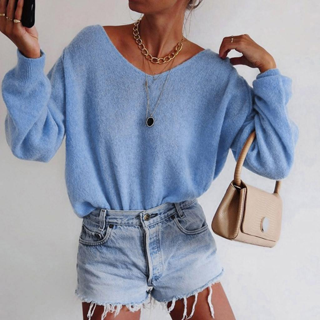 women pullover sweater v neck sweater Winter Sexy Knitting Solid Color Loose Long Sleeve Top Blouse chandail femme#XB15