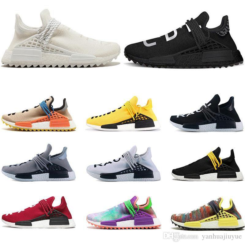 2019 Pharrell Williams Human Race Yellow Blue Nerd Heart Mind Mens Designer Sneakers Womens Luxury Running Shoes Size 36-45