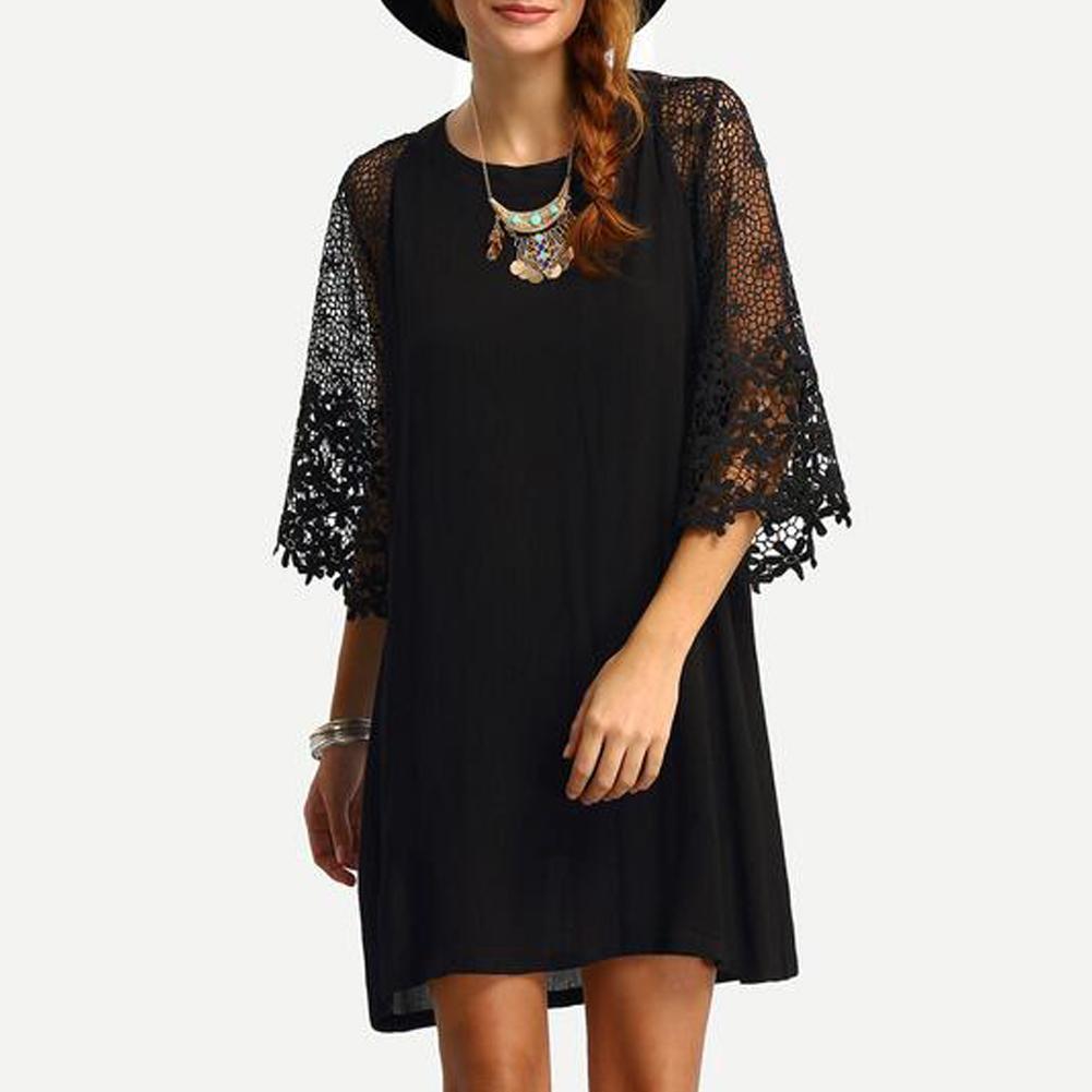 Women 4XL 5XL Loose Dress Sheer Crochet Lace Cut Out 3 4 Sleeve Casual  Short Dress Solid Mini Dress Plus Size Vestidos Black Shift Dress Long  Sleeve Dresses ... 7c4043f61a35