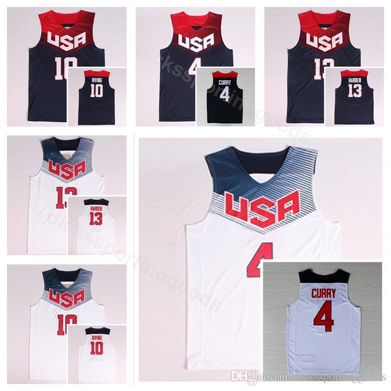 quality design 28ba2 52c03 Dream Team Eleven 2014 US Basketball Jerseys James Harden 13 Kyrie Irving  10 4 Stephen Curry Navy Blue White America Uniform National
