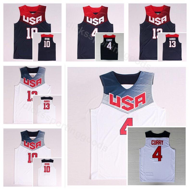 quality design 28ba2 52c03 Dream Team Eleven 2014 US Basketball Jerseys James Harden 13 Kyrie Irving  10 4 Stephen Curry Navy Blue White America Uniform National