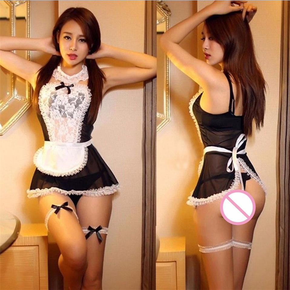 Hot 2018 Nuevo Arco de Encaje Lencería Mujeres Maid Francés Cosplay Lencería Sexy Hot Trajes Transparentes Eróticos Lovely Maid Disfraces