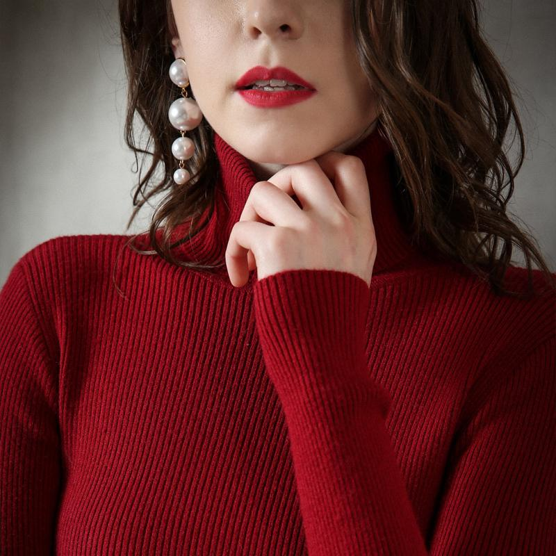 927ced78510ef Autumn and winter turtleneck tight sweater women's thick cashmere sweater  pullover versatile slim knitting wool sweater