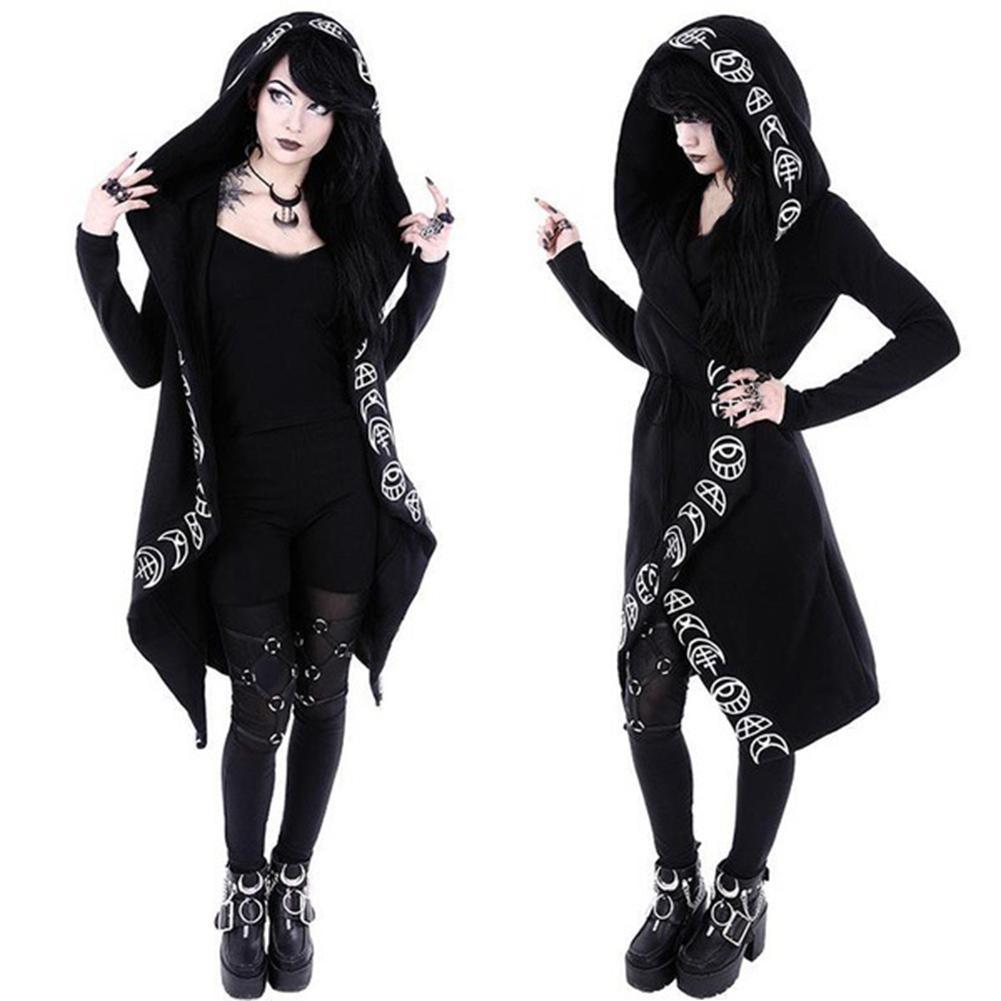 2019 Plus Size Gothic Moon Print Women Hoodies Cardigan Halloween ...