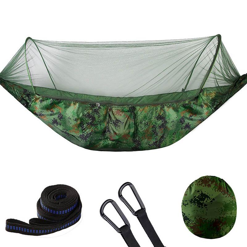 Camping Hammock With Mesh Cover Outdoor Mosquito Net Parachute Hammock Camping Hanging Sleeping Bed Swing Sports & Entertainment Camping & Hiking