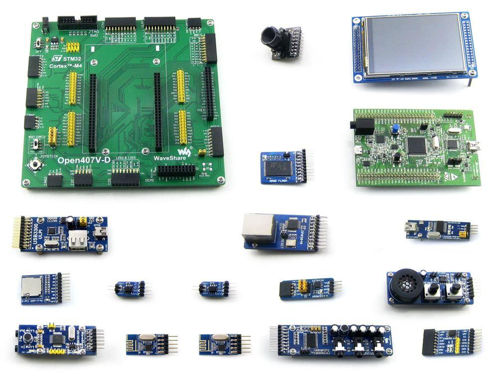 Freeshiping STM32 Board STM32F4DISCOVERY STM32F407VGT6 STM32F407 STM32 ARM  Cortex-M4 Development Board 15 Modules Kit =Open407V-D Package B