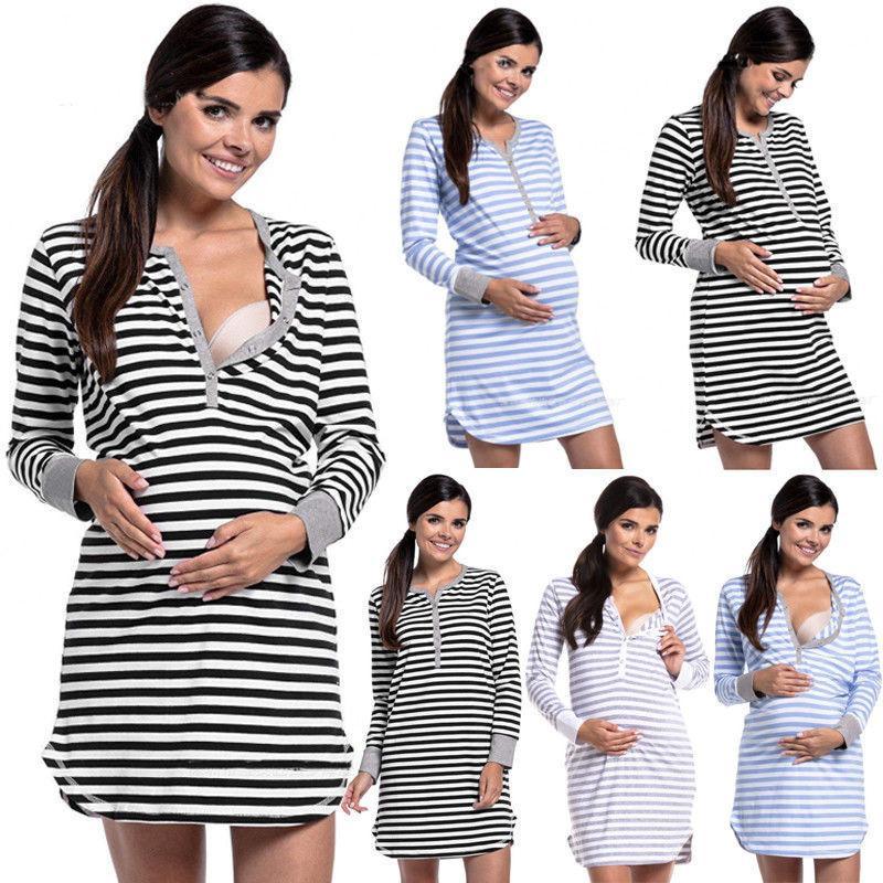 5e39d0347 Compre 2019 Primavera Otoño Ropa De Dormir Embarazada Jumper De Algodón  Vestido De Maternidad Manga Larga Mini Bodycon Vestido De Invierno A  32.94  Del ...