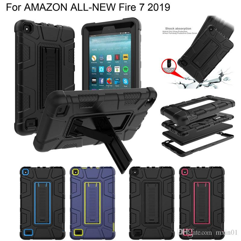Hybrid 3 in 1 Robot Heavy Duty Shockproof Silicone TPU Hard PC Cover Stand Case For Amazon Kindle Fire 7 2019 2017 Fire7 HD 8 HD8 2015 2016