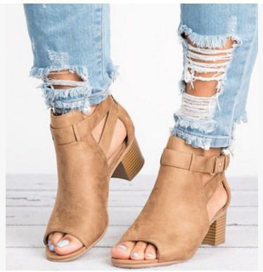 19fcb10fc3c Summer women gladiator sandals mid heels peep toe roman ladies shoes buckle  strap vintage sandals plus size sandalias mujer