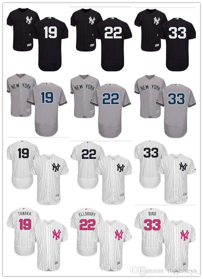 competitive price 05493 0b945 custom Men women youth NY Yankees Jersey #19 Masahiro Tanaka 22 Jacoby  Ellsbury 33 Greg Bird Home Black White Grey Baseball Jerseys