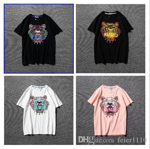 Summer Designer Shirts Mens Tops Tiger Head Letter Embroidery TShirt Mens Clothing Brand Short Sleeve Tshirt Women Tops