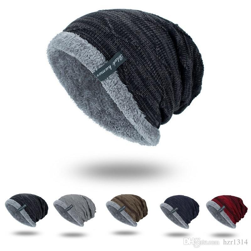 f98ea1c0 2019 Fashion Boys Men Winter Hat Knit Scarf Cap Men Caps Warm Fur ...