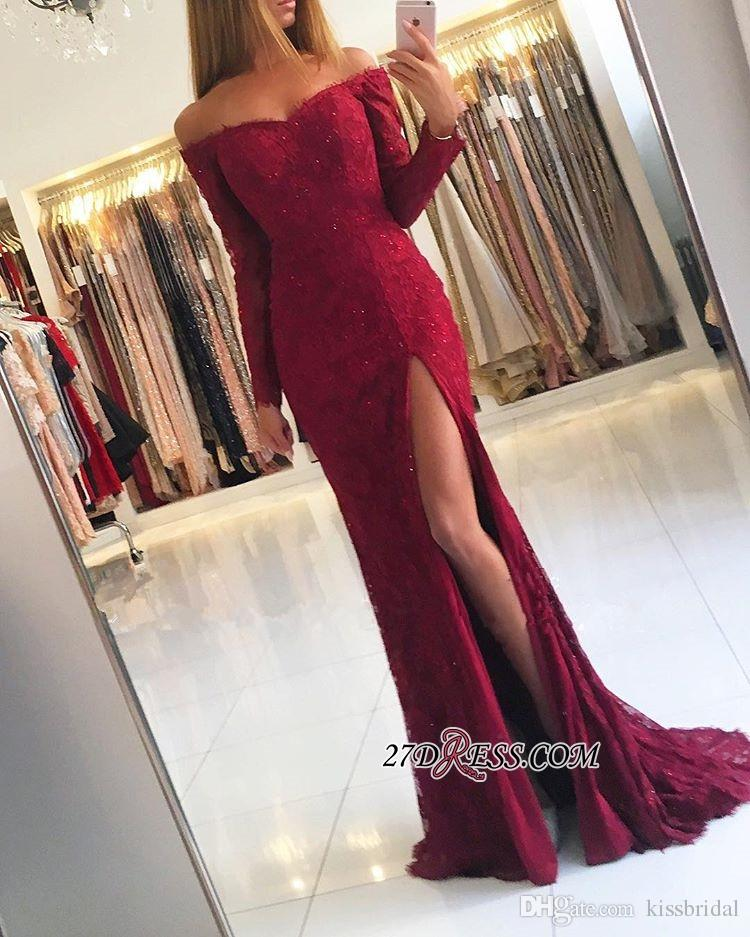 6affb54e53e71 Red Lace Prom Dresses With Split Off The Shoulder Long Sleeve Mermaid  Evening Gowns Beaded Appliques Cocktail Party Dress Formal Gown Prom Gowns  2015 Quiz ...