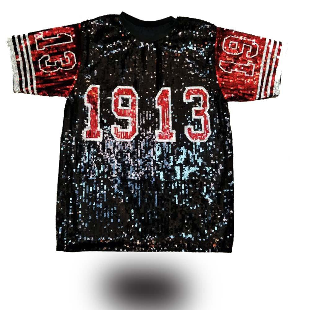 9ae13c952 Sequin Long O Neck T shirt red Black Delta Sigma Theta 1913 Sorority Sequin  T Shirt Clothing Party Club Top Loose Clothes