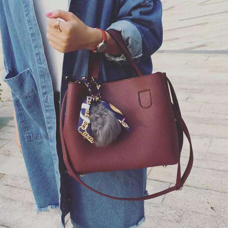 1471256b61 Litchi Pattern Soft PU Leather Women Handbag Two Pieces Female ...