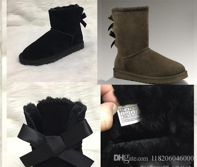 NEW Women Snow Boots Australian Style Leather 2 Bow Cow Suede Back Winter Bowtie Lady luxury Short Boot Brand IVG Fashion designer shoes