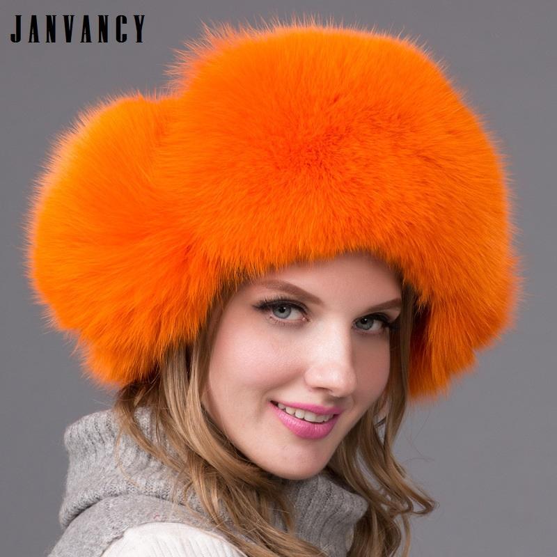 0a6617edc3e1 Nuevo Invierno Vogue Natural real piel de zorro sombreros Bomber para  Mujeres Pompom Orejeras Sombrero de nieve caliente Rusia Esquí Genuino piel  de ...