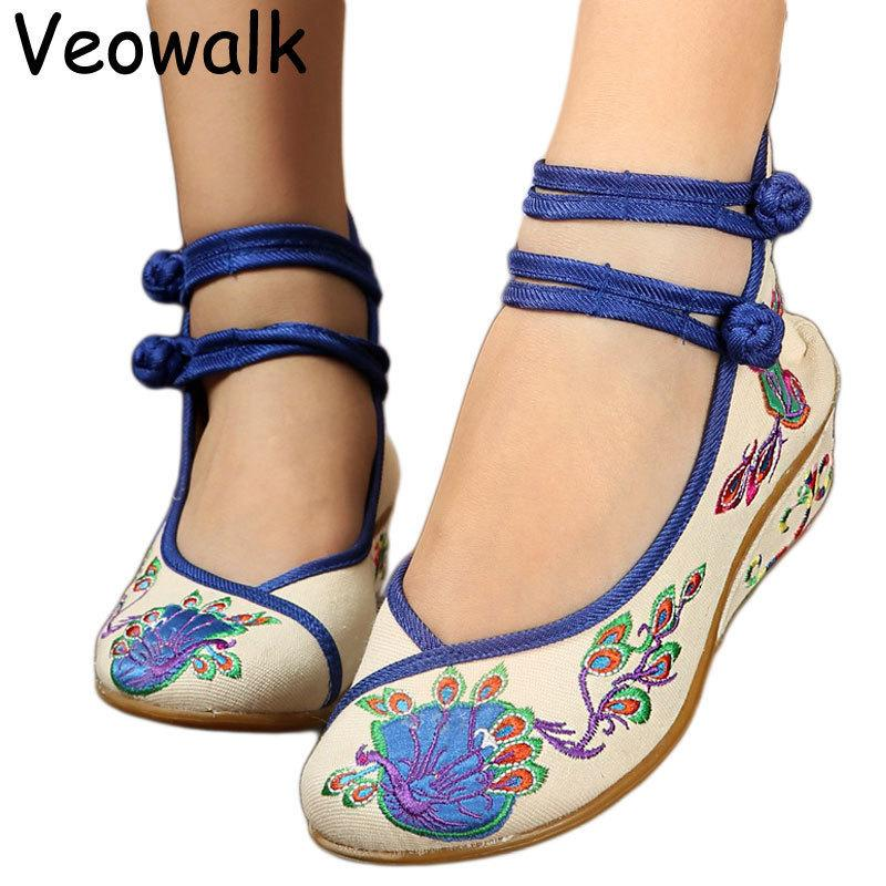 Dress Womens Chinese Style Casual Old Peking 5cm Wedges Flowers Embroidered Soft Cloth Canvas Medium Heels Shoes Ladies Retro Pumps