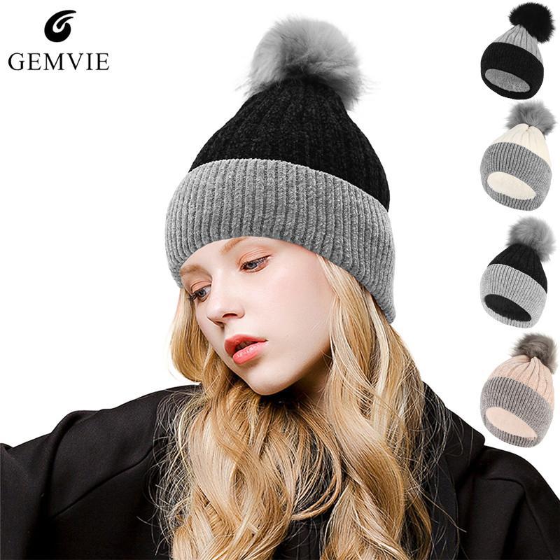 Compre Otoño Invierno Sombreros Gorras Sombrero De Punto Para Mujeres Niñas  Espesar Felpa Forro Cálido Skuillies Gorros Bola De Piel Linda De Punto Cap  A ... 25ab0dee0e80
