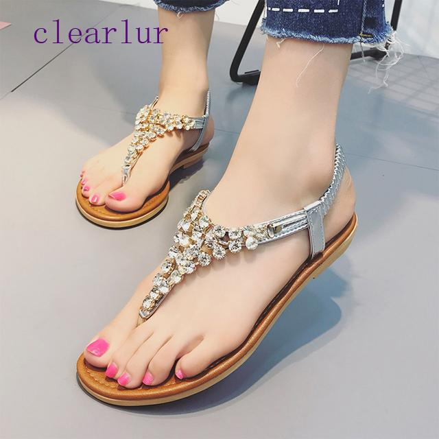 0e2f2e54920 Comfortable Flat Heel Sandals Women Large Size Summer Shoes Woman Bohemia  Flowers Rhinestone Beach Ladies Shoes C0264 Cheap Shoes For Women Buy Shoes  Online ...