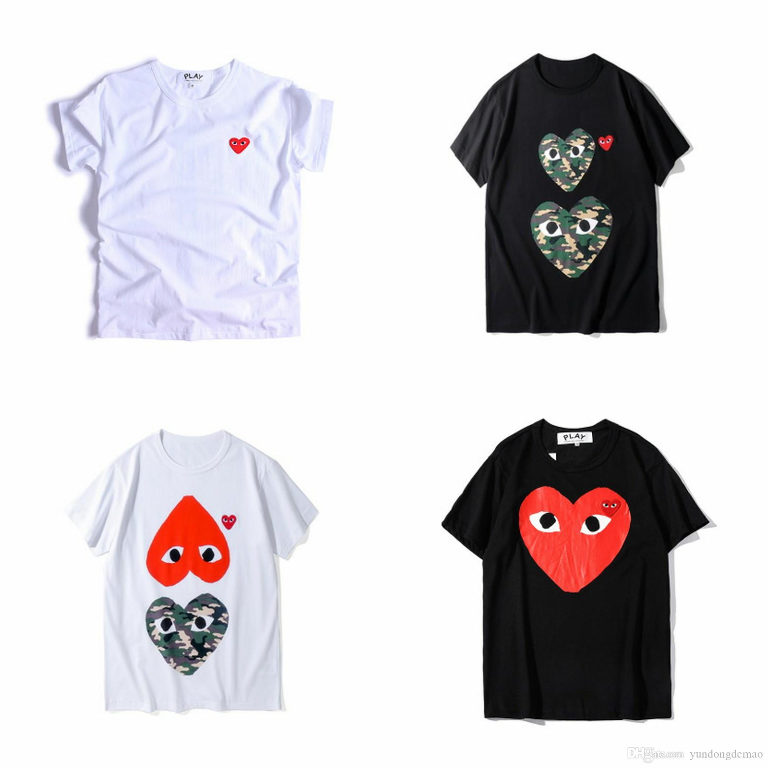 Lover New Best Quality HOLIDAY Black Heart Emoji PLAY TEE Limited Big Red Heart PLAY Tee