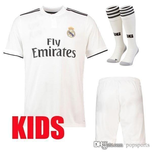 2019 18 19 Kids Kit Real Madrid Soccer Jersey Home Away Ronaldo 2018 2019 BALE  ASENSIO ISCO Camiseta De Fútbol Boys Child Football Shirts From Popsports c63d88545