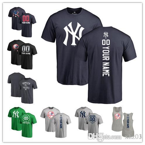 hot sale online 22cf1 5fae0 2019 Custom Men s women Youth NY Yankees Baseball T Shirt Personalized Name  and Number Banner Wave Baseball Tri-Blend Tank Top Jerseys