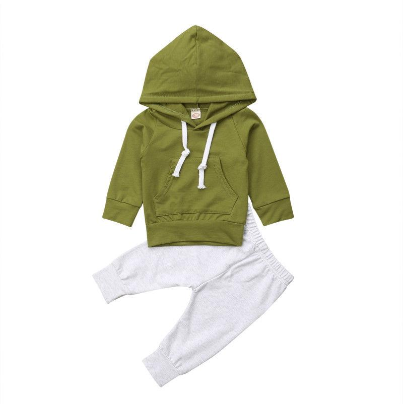 0-24M Autumn Winter Newborn Baby Boy Girl Hooded Sweatshirt Tops Green Long Pant Trouser 2PCS Outfits Clothing Set