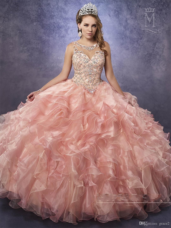 5432070bf Compre Vestidos De Quinceañera Baratos Vestido De Fiesta Princesa De María  Dulce 15 16 Vestido Con Cuello De Ilusión Y Volantes En Cascada Falda De  Organza ...