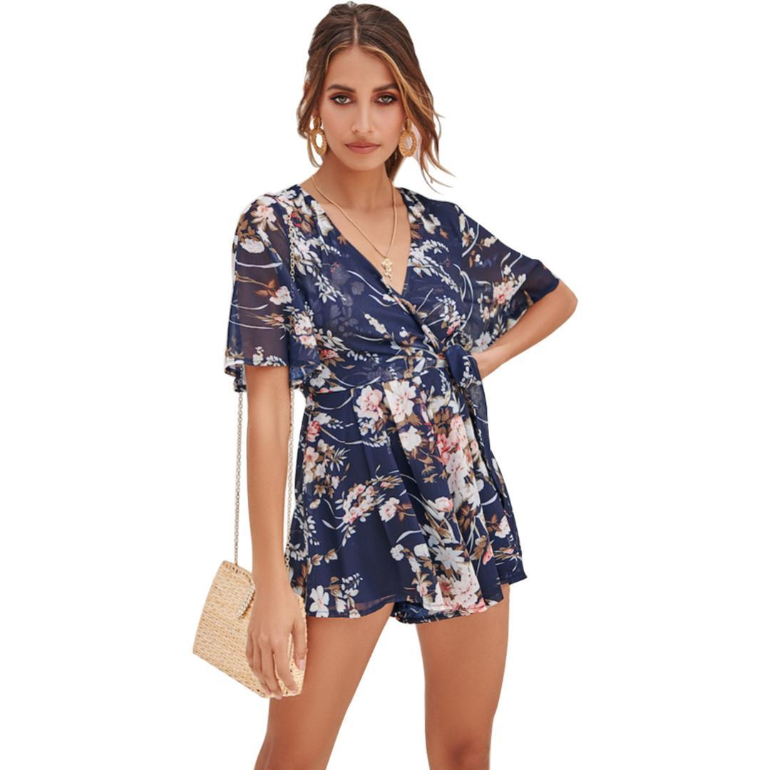 009938501a98 2019 Rompers Womens Jumpsuit Floral Chiffon Jumpsuit Summer Boho Playsuit  Shorts Ultra Low V Neck Overalls Beachwear Macacao Feminino From Shengui