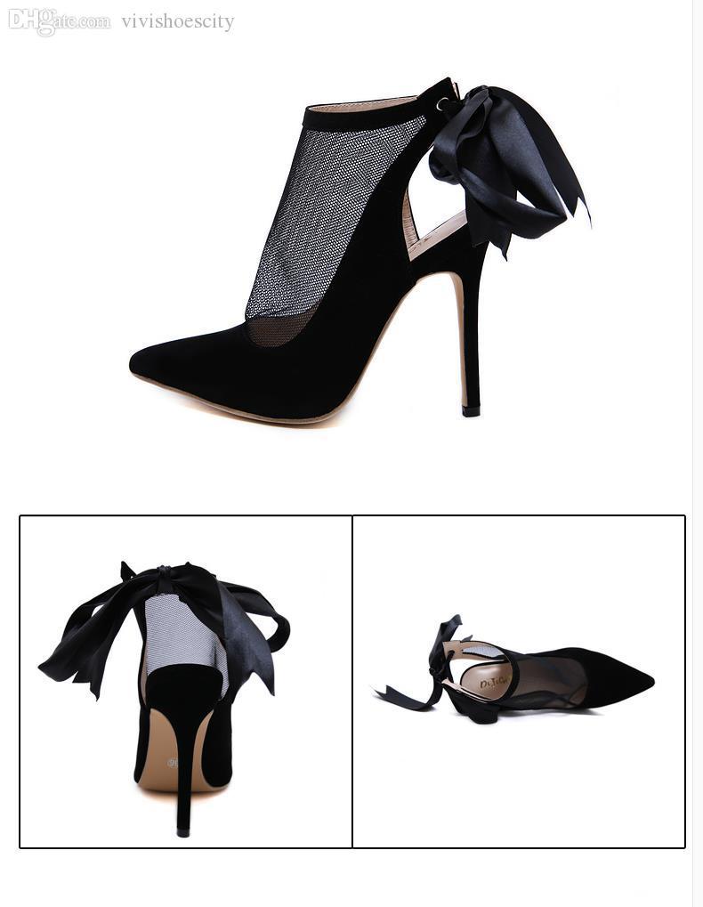 Çok güzel siyah meshy dantel geri papyon ayak ayakkabı tasarımcısı Kutu boyutu 35 40 için Come With işaret