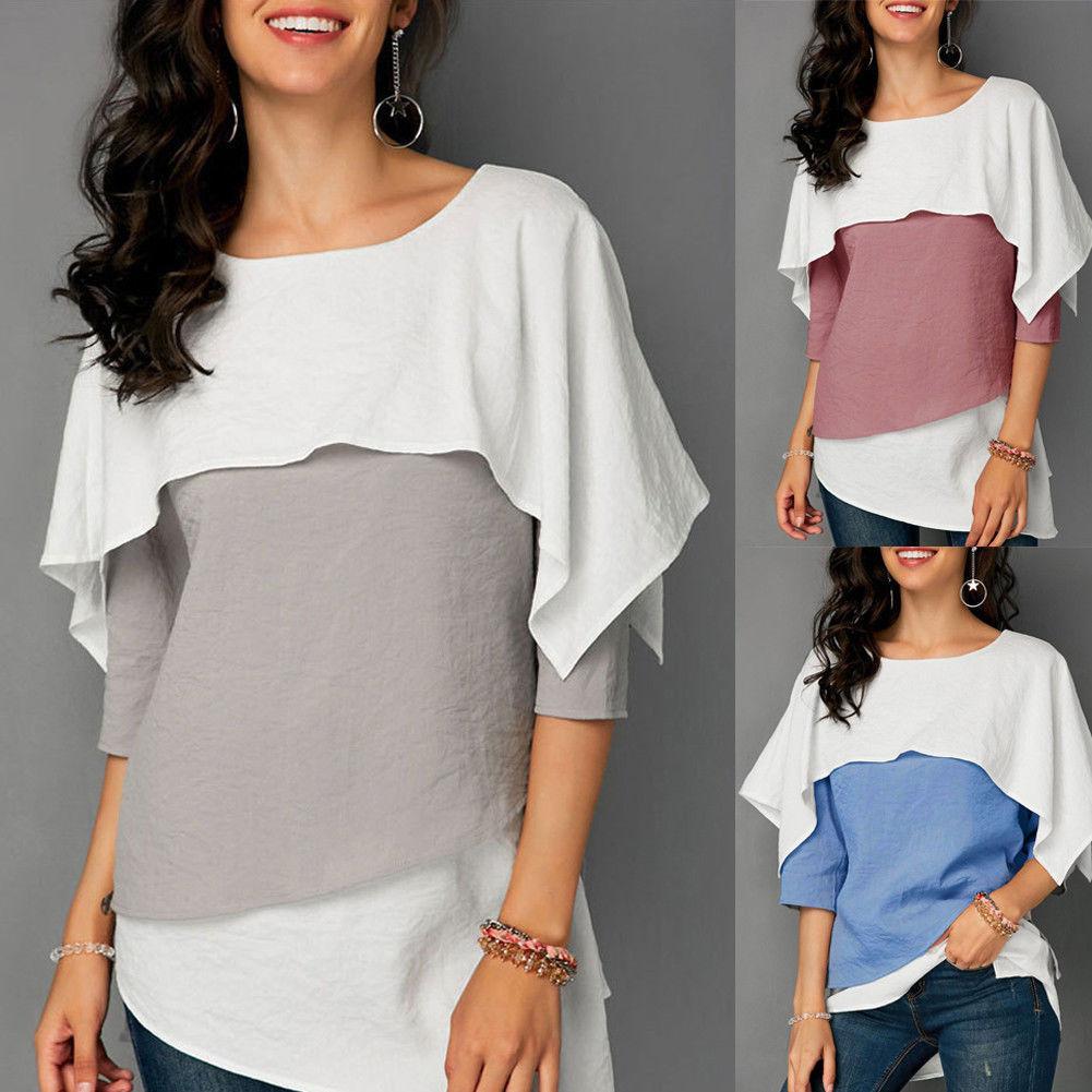 650110b08e Fashion Women Ladies Summer T-shirt Loose Tops Short Sleeve Ruffles Casual  T-shirt Women Clothes Tops