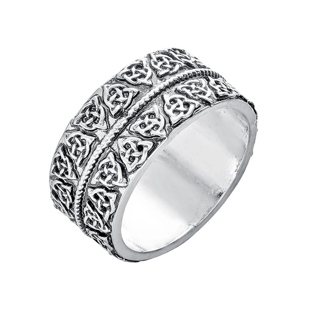 Vintage Silver Plated Triquetra Symbol Ring Viking Amulet Ring for Men