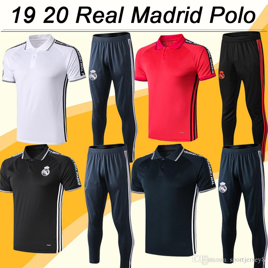 a19995e4e 2019 19 20 Real Madrid Polo Soccer Shirts Kit New MARIANO KROOS BENZEMA  MODRIC BALE MARCELO Red Black Gray White Football Jerseys Pants Top From ...