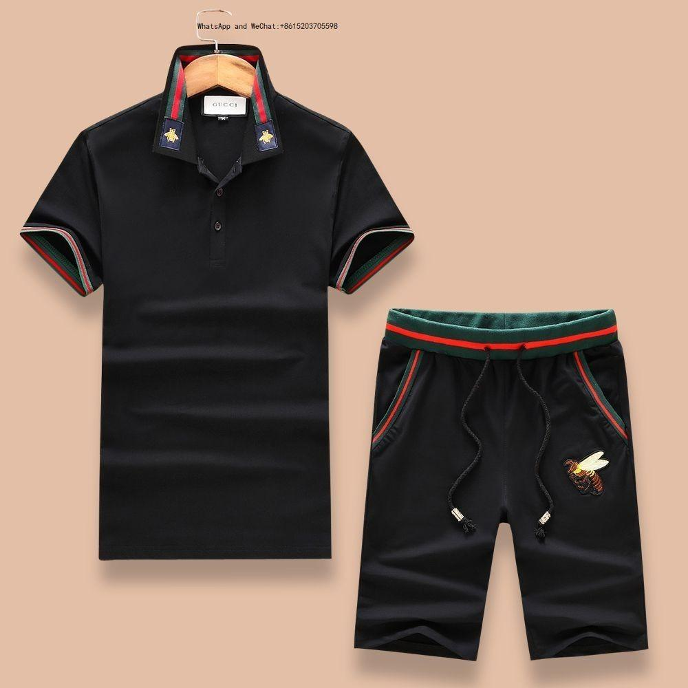 Mens Tracksuit Summer Dot Printed Large Yard Running Suit Sportsuit Casual T Shirt with Jogger Short Pants