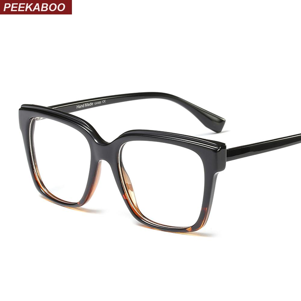 be90958660 2019 Peekaboo Black Square Eyeglass Frames Women Accessories Clear Lens  Fashion Glasses Women Optical Frame Designer From Boiline