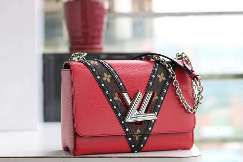 2019 M51877 TWIST MM CLÁSICA forma de V Bolsas hombro de la cadena RED Hobo HANDBAGS Asa Superior BOLSOS BOSTON CROSS BODY MESSENGER
