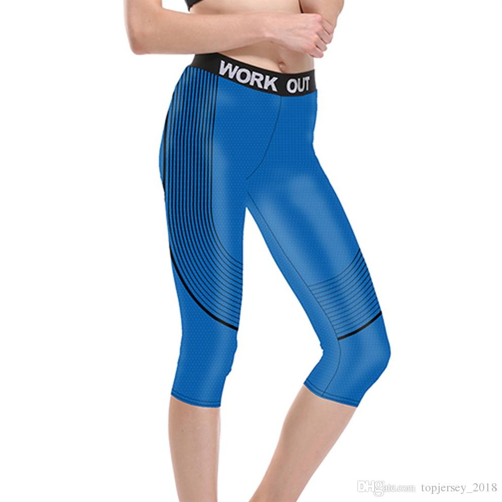 e2b3e76de2b2cd 2019 JIGERJOGER 2018 Royal Blue Printed Black Stripes Mid Rise Waist Active  Workout Capri Leggings Gym Outfit Stretch Tights Shorts #157430 From ...