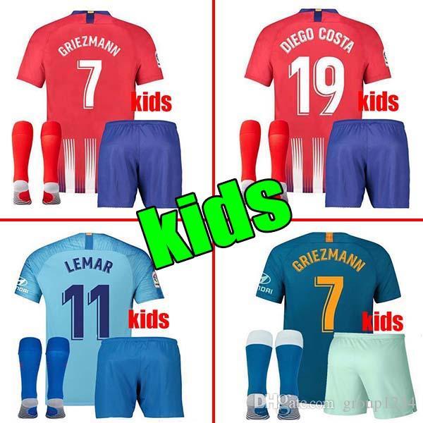 cd84310c7a5c9 Compre Kit De Atletico Para Niños 2019 GRIEZMANN Madrid Casa Camiseta De Fútbol  Camiseta De Fútbol KOKE Personalizada SAUL DIEGO COSTA 18 19 Atletico Boy  ...