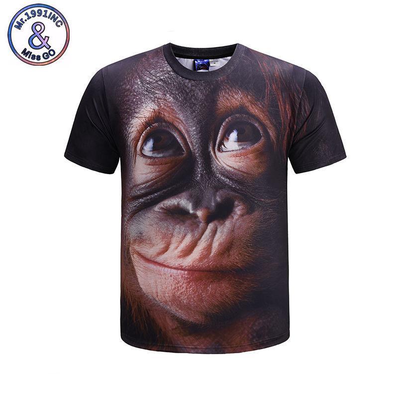 62518ebf768 Creative 3D Animals T Shirt Fashion Monkey Full Print Tee Shirt Homme Summer  Style Unisex Short Sleeve 3D T Shirt Plus Size 3XL Funny Tee Shirts Mens T  ...