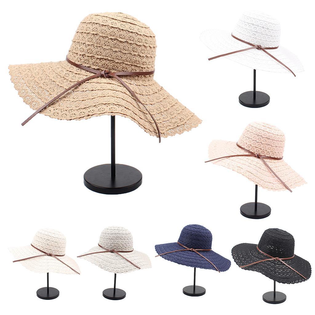d1d7b9cf4b3 Women Summer Beach Foldable Floppy Beach Sun Hat Wide Brim Packable Solid  Color Faux Leather Bowknot Weave Lace Bucket Cap