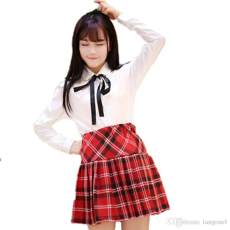 10acdf8fff Compre Uniforme Escolar Traje De Marinero Para Niñas Estudiante Japón  Colegio Uniforme Escolar Camisa Blanca + Faldas A Cuadros Disfraces Cosplay  Mujeres A ...
