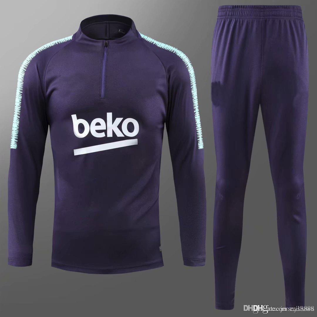 d4afe311a3d 2019 18 19 New Barcelona Soccer Tracksuit Suit Jacket Sets 2018 19 MESSI  Jacket Jogging Training Suit SUAREZ PIQUE Football Training Suits Men From  ...