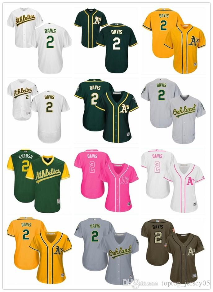 83ec90070 2018 top Oakland Athletics Jerseys #2 Khris Davis Jerseys men#WOMEN#YOUTH#Men's  Baseball Jersey Majestic Stitched Professional sportswear
