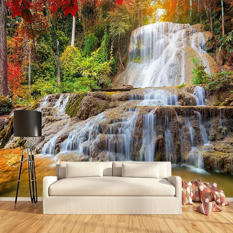 Custom Wallpaper Murals 3d Hd Forest Rock Waterfall Photography