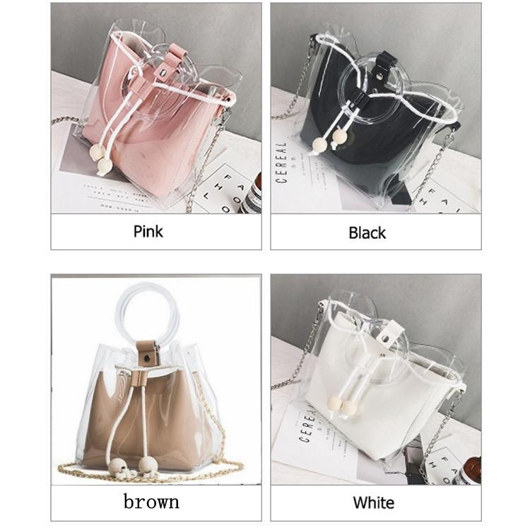 Women Transparent Bag Tote For Teenage Girls Drawstring Jelly Bag Circle Handle PVC Bucket Shoulder Bag Handbag Chain MMA1225