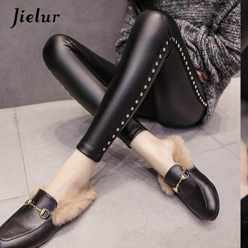 Jielur New Winter Fleece Matte Pu Leather Leggings Women Fashion Rivets Push Up Pencil Pants 4 Colors S-xxxl Slim Lady Leggins Q190510
