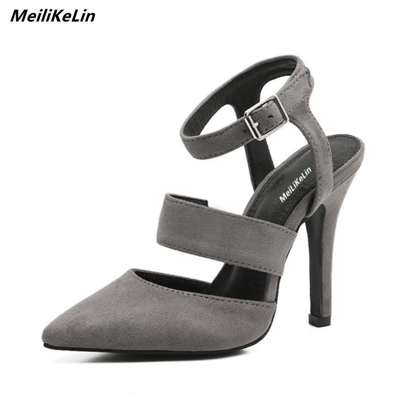 62267d38c Compre Vestido Meilikelin Sexy Slingbacks Saltos Pontiagudos Mulheres Preto  / Cinza Fivela No Tornozelo Sandálias De Salto Alto Sapatos De Verão  Feminino ...
