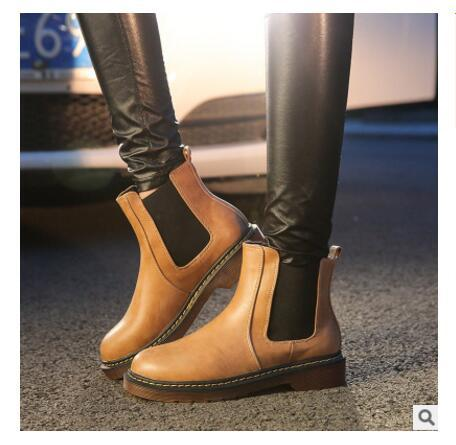 2019 fashion winter tricolor brand new leather female ankle Martin ankle boots motorcycle smooth shoe fashion leather boots plus